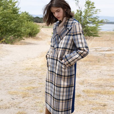 Daria check double coat (blue check)