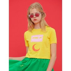 [MIMICAWE]DOLLS ONLY MOON PRINT CROP T/YELLOW