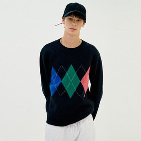 Cashmere Blend Argyle Knit_Men (Dark Grey)