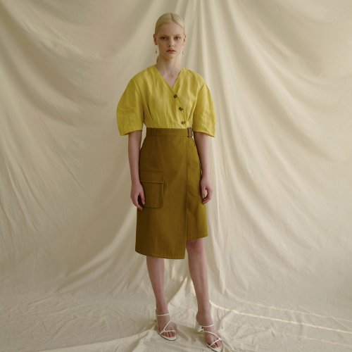 MIA LINEN DRESS atb319w(LEMON/KHAKI)