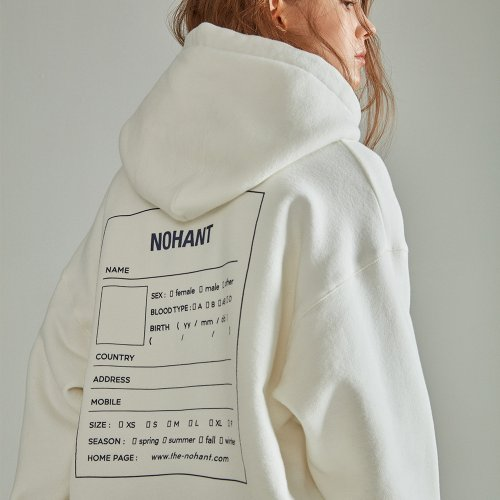 [NOHANT] OVERSIZED NAME LABEL HOODIE IVORY