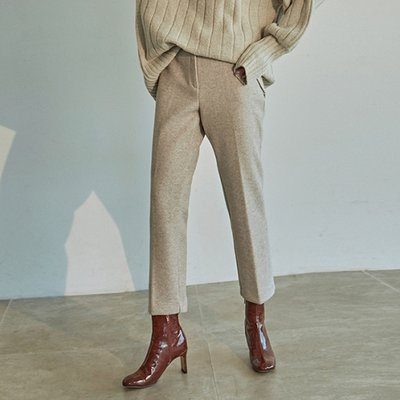 [DEANS] WOOL STRAIGHT LINE SLACKS_OATMEAL