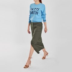 / deep-slit cotton skirt