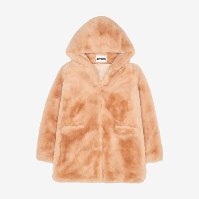 APPARIS 아파리 MARIE FAUX FUR MID LENGTH COAT SAND F46