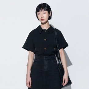 PATCH-POCKET SHORT SLEEVED SHIRT(BLACK)(woman)