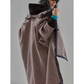 [MIMICAWE] KNIT TRIMMED CAPE COAT/NAVY