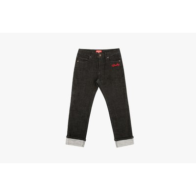 [50% SALE] Ted straight-fit roll up black denim pants