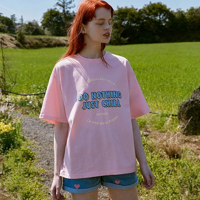 (TS-20303) DO NOTHING JUST CHILL T-SHIRT PINK