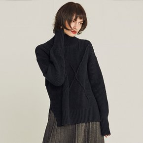 EMBROIDER WOOL TURTLENECK SWEATER (NAVY)