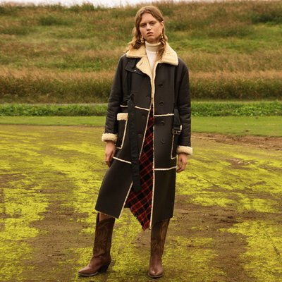 SIENNA LAMB SHEARLING LONG COAT awa187w(Dark Brown)
