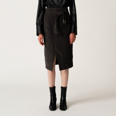 Corduroy Belt Skirt-D/GY