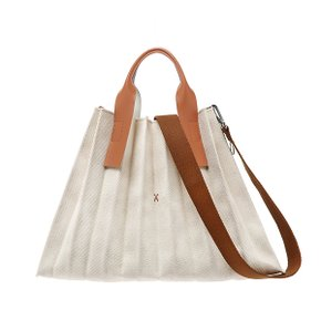 [9/21~10/10 10% 파격적립][조셉앤스테이시] Lucky Pleats Canvas L Ivory_Pecan Brown