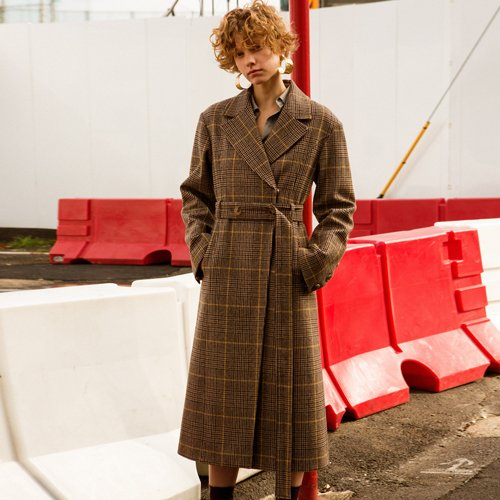 HAYDEN LONG BELTED COAT awa176w(Brown Check)