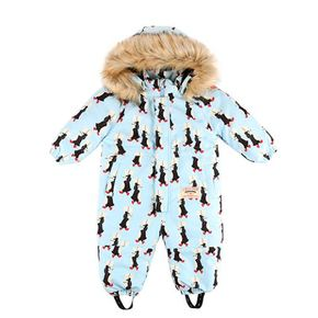 Multi penguin baby ski suit