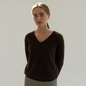 RACCOON V NECK KNIT (BROWN) (S03SWA001)