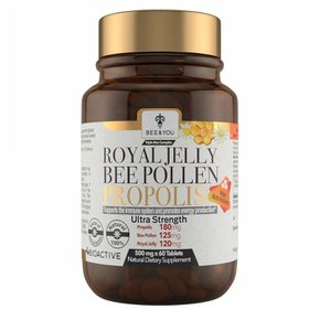 BEE and YOU Royal Jelly Propolis Bee Pollen 비앤유 로얄 제리 프로폴리스 비 폴렌 500mg 60정