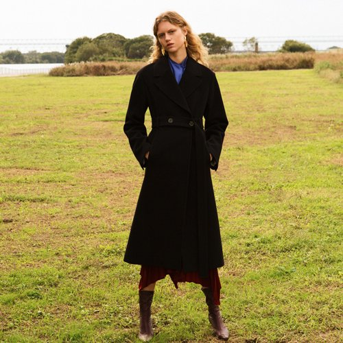 HAYDEN LONG BELTED COAT awa176w(Black)