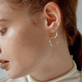 Double ring Earring 더블링 골드 드롭 핀 귀걸이