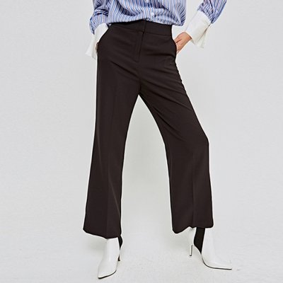 [DEANS] HIGH-WAIST WIDE LONG SLACKS_BLACK