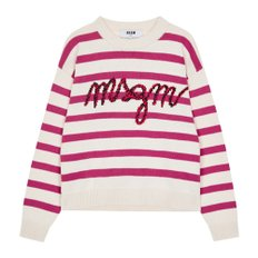 공식[MSGM] W_Embroidered Italic Logo Striped Knit (IVORY)