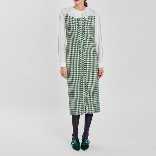 / houndstooth tweed dress