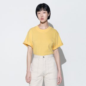 111 EMBROIDERED OVERSIZED T-SHIRT(YELLOW)(woman)