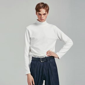 SLIM HALF TURTLENECK T_WHITE