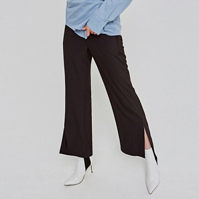 [DEANS] EMBO ST SLIT WIDE SLACKS_BLACK