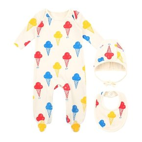 Multi ice cream newborn overall set