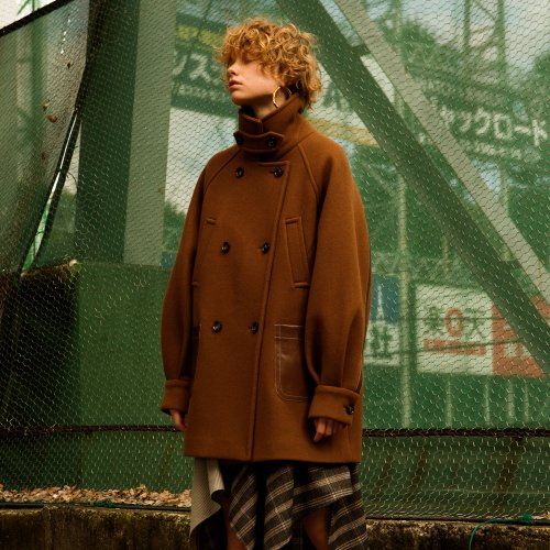 HIROSI OVERSIZED PEA COAT awa175w(Brown)
