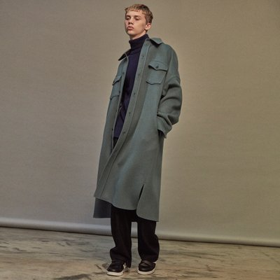 [NOHANT] OVERSIZED WOOL SHIRT-COAT SKY BLUE