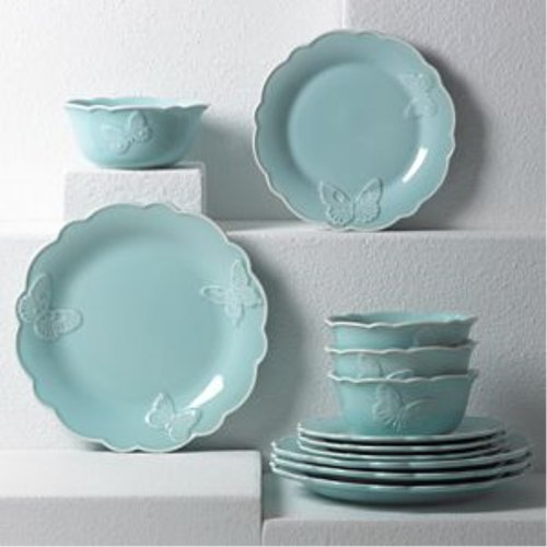 레녹스 Lenox Butterfly Meadow Carved Blue 12Pc Set