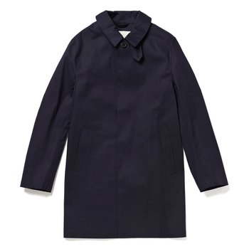 NAVY BONDED COTTON SHORT COAT GR-002