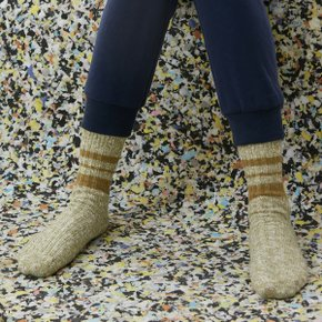 Melange Striped Socks (Light Khaki/Olive)