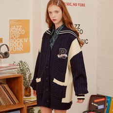 (CD-19732) SAILOR COLOR BLOCK CARDIGAN NAVY