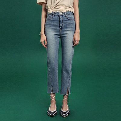 [DEANS] SLIT LINE HIGH-WAIST DENIM PANTS_DENIM