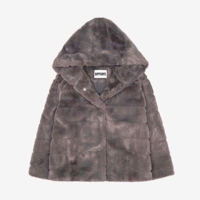 APPARIS 아파리 GOLDIE FAUX FUR HOODED JACKET CARBON F63