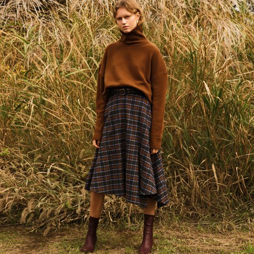 ASYMMETRIC BELTED CHECK WOOL SKIRT  apa260w(Brown Check)