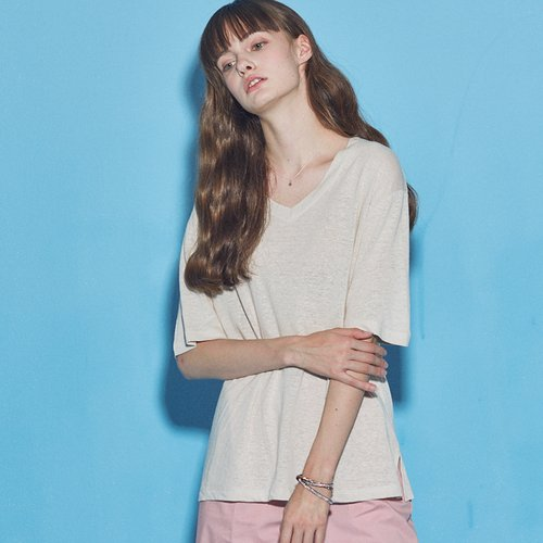 [20%할인적용가]BASIC LINEN V NECK T-SHIRT_LIGHT BEIGE