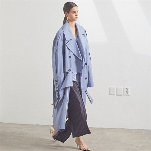 [MUSEE]Fieno Oversized Trench Coat _ Iris blue (2105794)