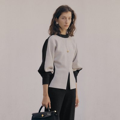 Aerin Oval Sleeve Top_Cement+Black