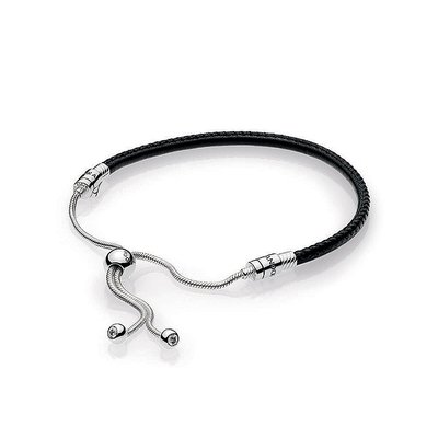 판도라■쇼핑백 증정 Black Leather Bracelet 597225CBK-2