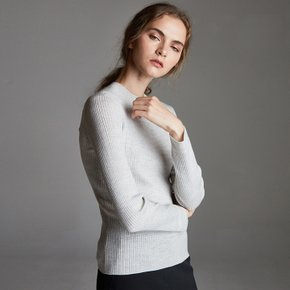 ROUND-NECK SLIM WOOL KNIT_GY