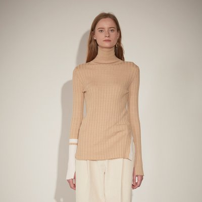 ★SSG 특별혜택가★[뮤제] Piet Contrast-Cuffs Turtle Neck Knit_Beige