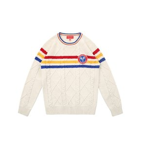 Icebiscuit tennis emblem cable fullover sweater