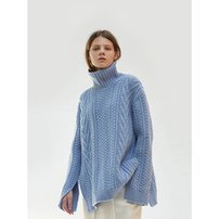 17FW CABLE TURTLENECK (BABY BLUE)