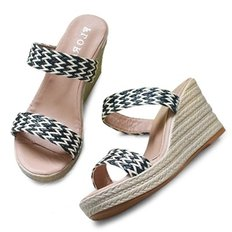 kami et muse Rattan strap wedge heel slippers_KM19s235