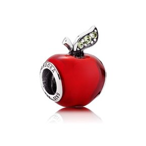판도라 Disney Snow White apple silver charm with red enamel and dark green cubic zirconia 791572EN73