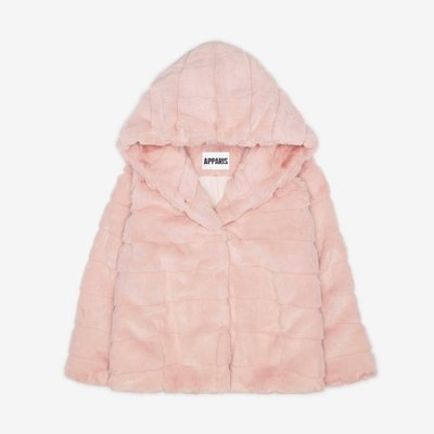 APPARIS 아파리 GOLDIE FAUX FUR HOODED JACKET BLUSH F63