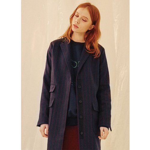 [50%할인적용가]stripe coat Navy
